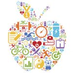 Apple with health icons inside