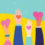 group of hands holding up hearts