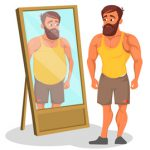 woman and man unhappily looking in the mirror
