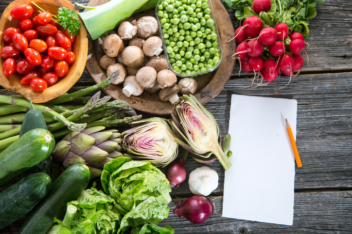 vegetables and pad of paper