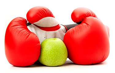 boxing gloves with apple
