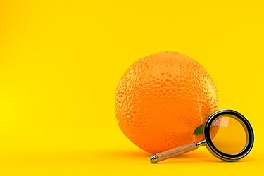 Orange with magnifying glass