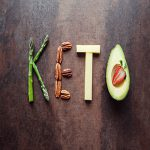 Keto word made from keto diet food