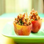 spiced stuffed peaches with chickpeas